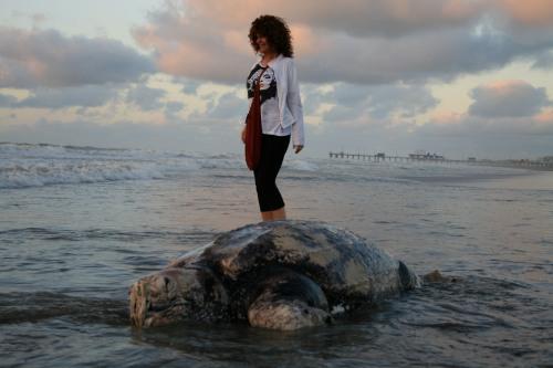 Susú pecoraro y la tortuga gigante en Pinamar